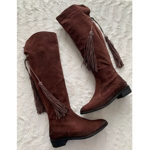 Free People brown boho over the knee riding boots